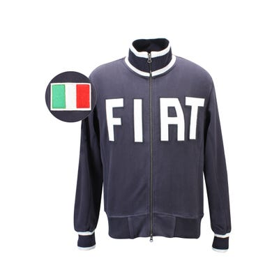 Men's Italian Full Zip Applique Sweatshirt